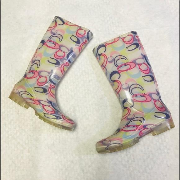 Coach Shoes - Coach Pixy multi color signature logo rain boots 7